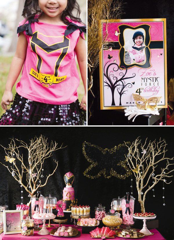 "Fabulous Pink Power Ranger Party with fun details like a butterfly mask cake, mystical rockcandy, gold manzanita tree ""magic forest"" & more!"