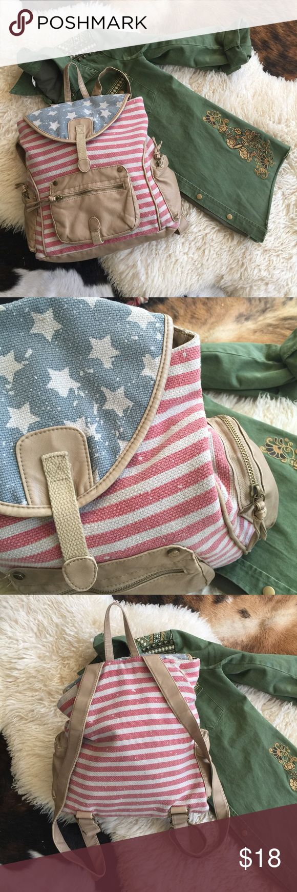 american flag backpack ꊛ unbranded   ꊛ one size  ꊛ lightly used  ☾small american flag backpack with vegan leather trim. purposely distressed print.   ꊛ × no paypal × no trades × be kind, have fun & stay lovely ო  メℴ メℴ Bags Backpacks