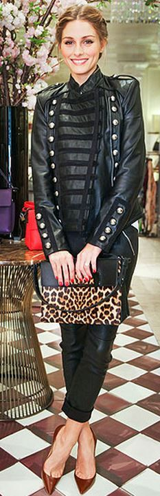 Who made  Olivia Palermo's brown pumps, leopard handbag, and black leather jacket that she wore in New York?