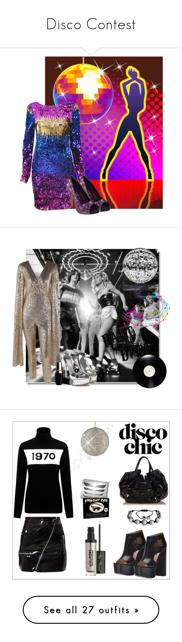 """Disco Contest"" by rboowybe ❤ liked on Polyvore featuring Ellie Shoes, Bella Freud, Ruthie Davis, Crystorama, Oxford Ivy, Chanel, Too Faced Cosmetics, Violent Lips, WithChic and Mykita"