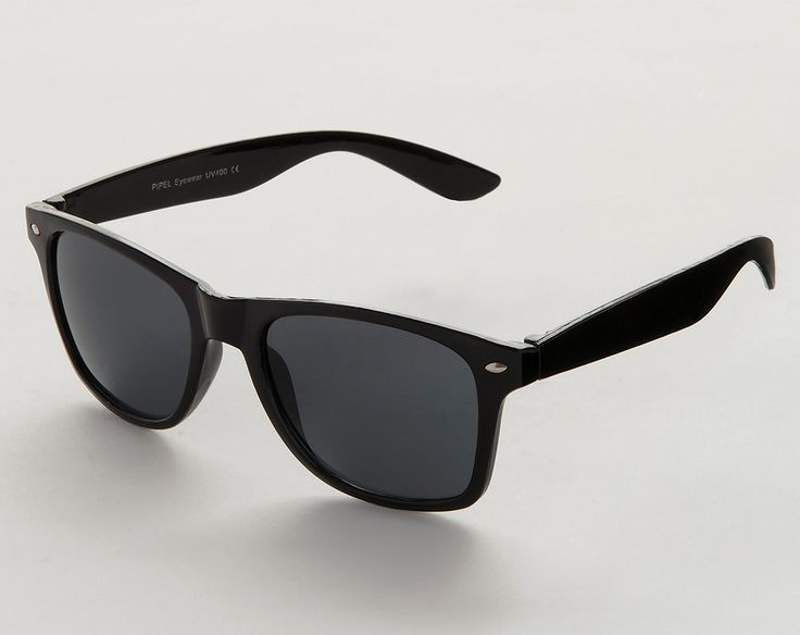 UV 400 sun protection. Wayfarer style frames with black plastic lenses. Comes in a hard case. Each lens measures H4.7 x W6cm. Frame is made from plastic.