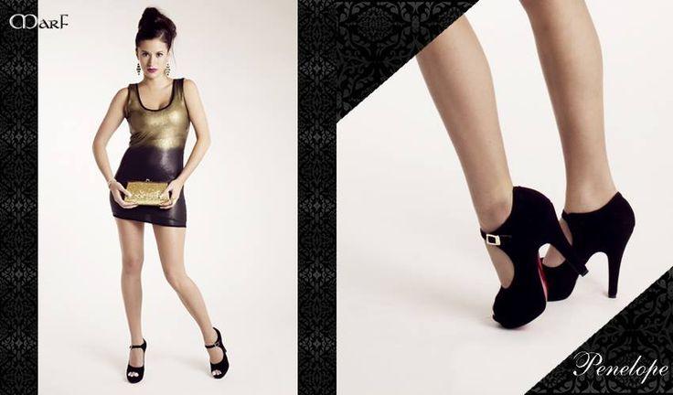 Zapatos MARF : Modelo Penelope  Cabritilla negra y vison