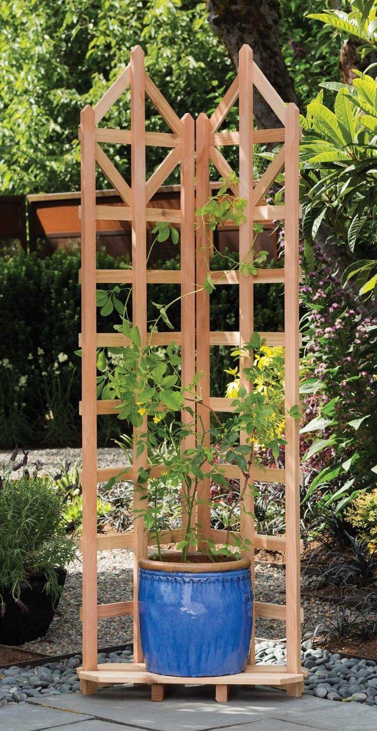 Arboria deco freestanding corner trellis for Outdoor structures