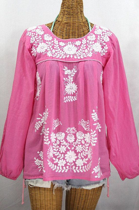 be6169a3085c01 Long Sleeve Mexican Peasant Blouse Top Hand Embroidered