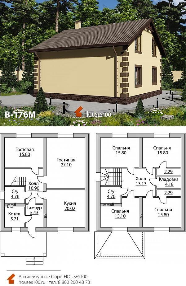 Проект дома с мансардой и тремя спальнями | План дома, Планировка ... | 919x600