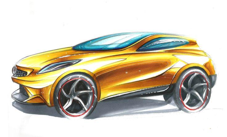 Sketch Mercedes. Técnicas de Marcador