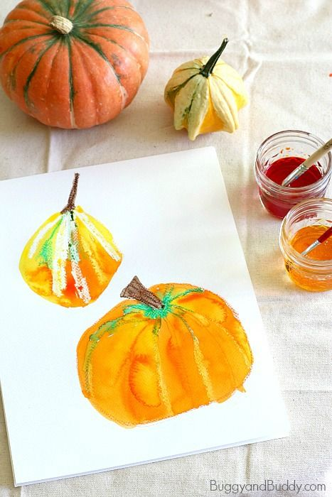 Pumpkin Still Life Art Project for Kids Using Oil Pastels and Watercolors (Perfect for fall and Halloween!) ~ BuggyandBuddy.com