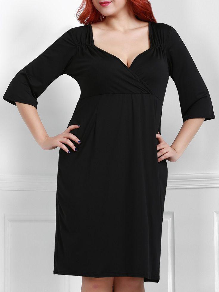 Noble 3/4 Sleeve Sweetheart Neck Bodycon Women's Black Dress - BLACK 4XL
