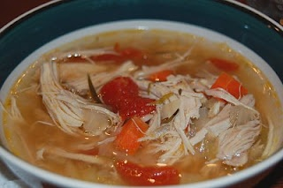 Virus Killing Soup -- chicken soup made with garlic, cayenne pepper, and veggies. I think I'll add some ginger and lemon to top it off.
