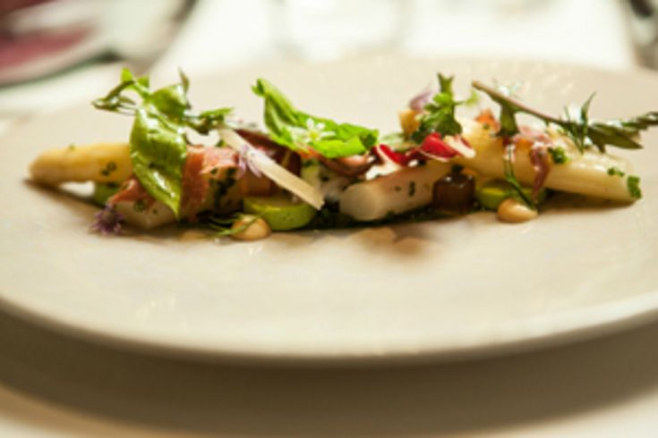 Salad of White Asparagus with Garlic Panna Cotta, Crab Mayonaise, Iberico Ham and Gremolata recipe by professional chef Marcus Eaves