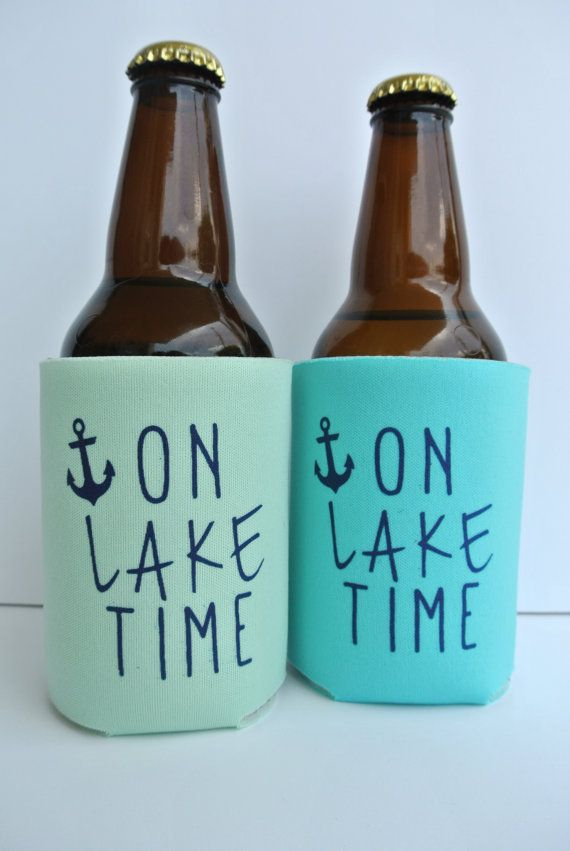 On Lake Time Nautical Beer Koozies by yourethatgirldesigns on Etsy, $6.00