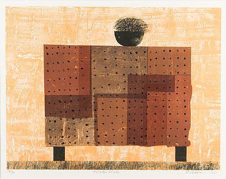 Reino Hietanen: Tilkkutäkki, 2001, litografia, 38,5x51 cm, edition 17/70 - Bukowskis Market 5/2016