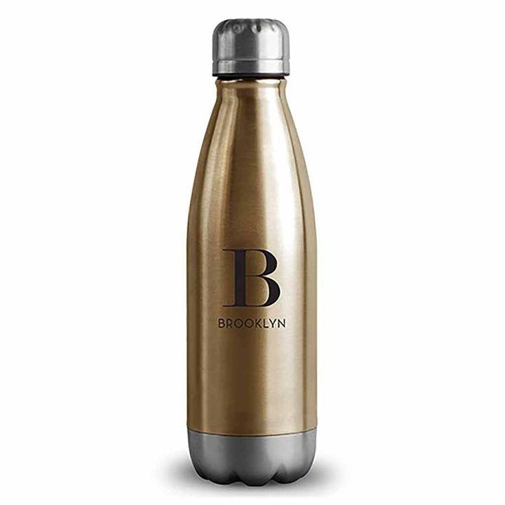 "Matte Gold Modern Serif Monogramed ""Central Park"" Travel Bottle"