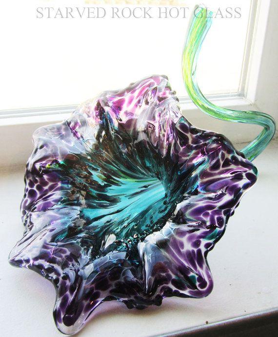 Blown Glass Flowers   Hand Blown Glass Flower by StarvedRockHotGlass on Etsy