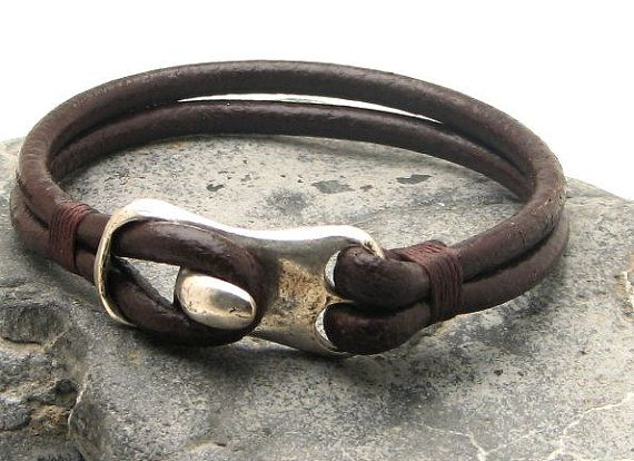 FREE SHIPPING Men's bracelet leather Brown leather men's cuff bracelet with silver plated clasp