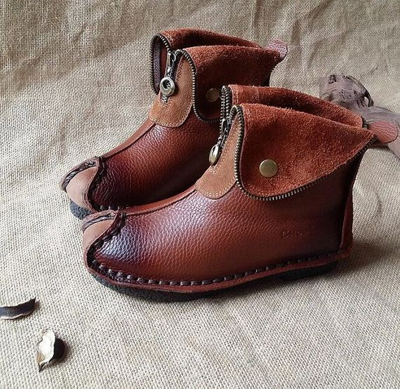 Handmade Women Brown Leather BootsOxford Retro Women by HerHis