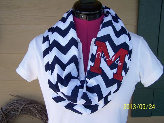 Ole Miss Navy & White Game Day Chevron Infinity by EllaKatelin, $28.00