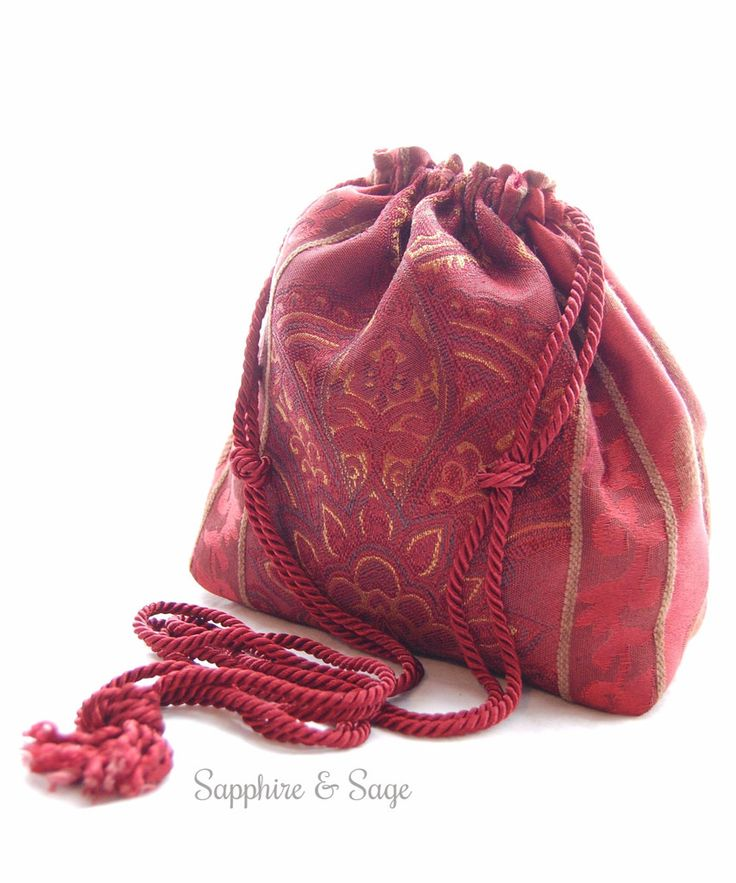 "Giselle Fully-Lined Drawstring Bag Purse Keepsake Pouch in Burgundy Tapestry  www.sapphireandsage.com  Elegant drawstring bag, fully lined.  Approximately 8""x8"" interior.  Choose your drawstring length to best suit your needs - perfect for carrying your valuables easily and fashionably at your favorite Renaissance faire, or your local coffee hot spot!"