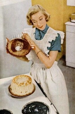 The joys a perfectly baked angel food cake (that actually comes away from the pan! :)). #vintage #1950s #homemaker