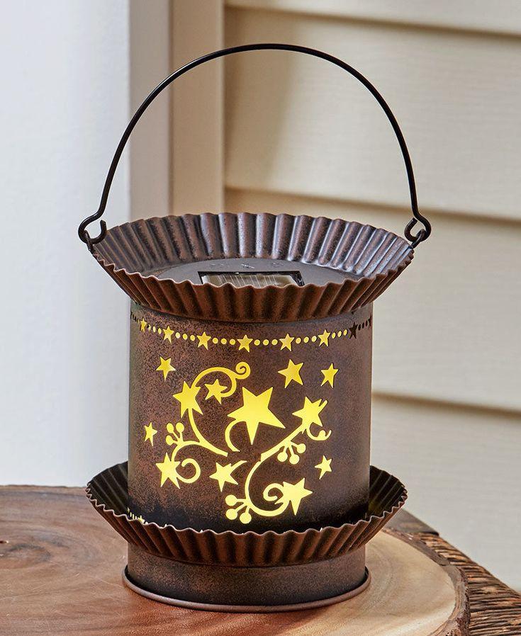 Country Solar Lanterns GARDEN DECK PORCH RUSTIC HOME DECOR #AFoYFT
