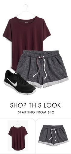 Summer Workout by mwenban on Polyvore featuring Madewell, H&M, NIKE, women's clothing, women's fashion, women, female, woman, misses and juniors - womens clothing s, online shops for womens clothing, womens petite clothing
