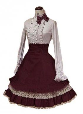 Vermeil and White Long Sleeves Cotton Lolita Suit, ocrun.com