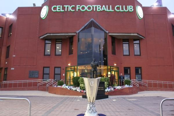 The UEFA Europa League trophy at Celtic Park in November 2014.
