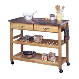 Home Styles 44-in L x 20.5-in W x 36-in H Natural Kitchen Island with Casters