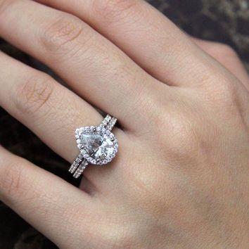 Marvelous 3.05 Ct.tw Bridal Set Pear Cut Diamond Simulant Halo Engagement Ring .  Teardrop ... Good Ideas
