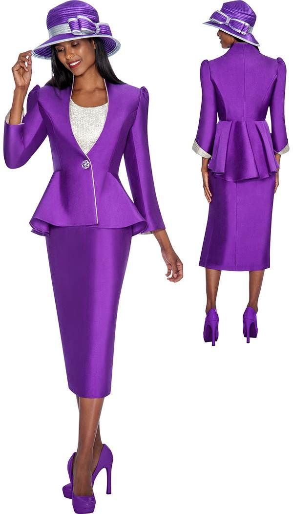 Gmi G5493 Purple Silver Womens Church Suits I Love Purple