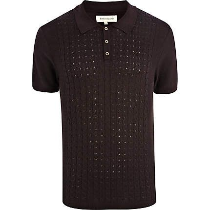 River Island  Purple cable knit front polo shirt  £25