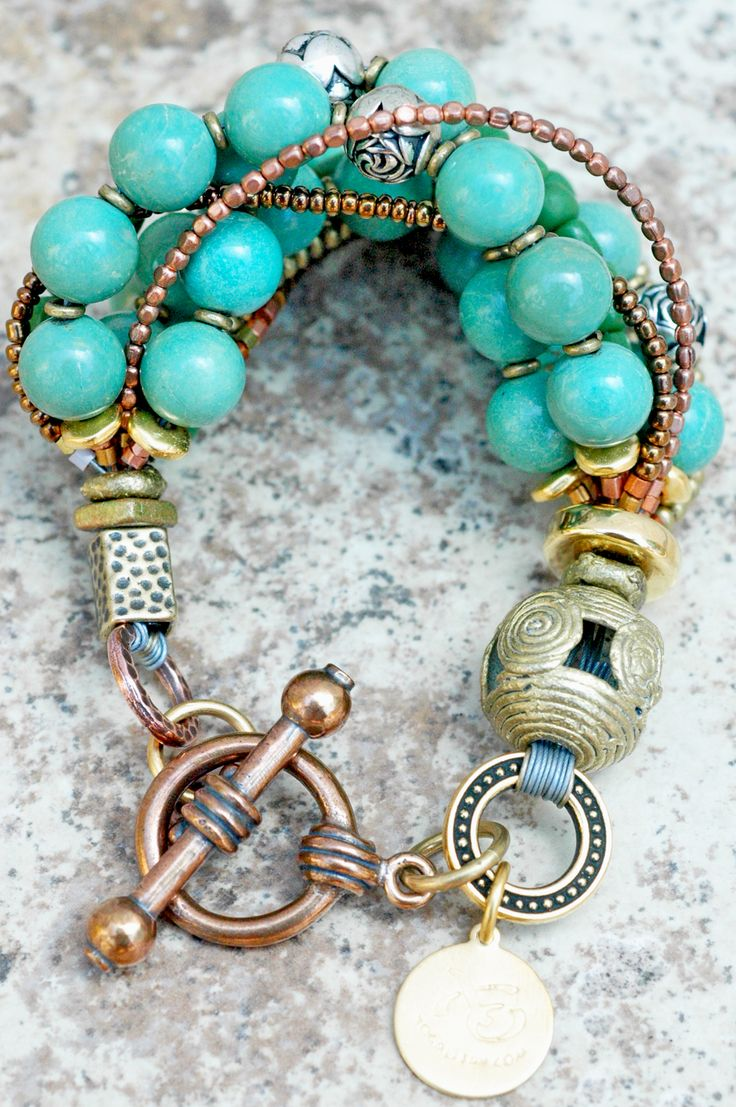 Custom Antique Turquoise, Brass and Gold Multi-Strand Bracelet