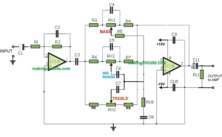 bass  treble  mid range music tone controller circuit using active opamps