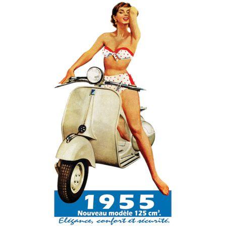 En 1946 la première Vespa roule sur les routes de Florence, mais la ligne de scooter sera réellement populaire mondialement que dans la décennie 1950. D'ailleurs sa popularité est toujours d'actualité pour les collectionneurs. En ce qui concerne le bikini, celui-ci est lancé en France la même année, en 1946, et adopté dans les années cinquante également. Il ne s'imposa aux états Unis que vers 1965 !