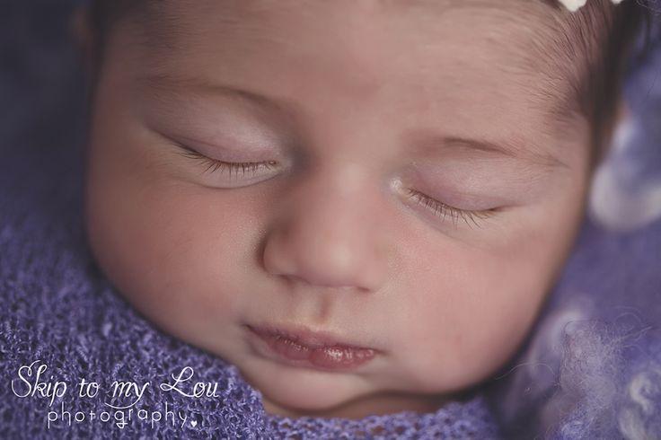 Melbourne Newborn and baby Photographer  Children Photography  Skip to my Lou - newborn purple wrap pose