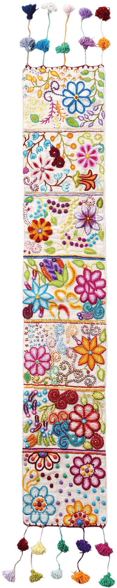 Tassel Stitch Table Runner / This nice Jenny Krauss design from Anthropologie is tassel-stitched, colorful and hippie-fringed.