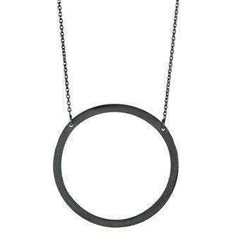 Oxyderet sølvkæde 94 cm m. cirkel 42mm , Halskæder - Nordahl Andersen