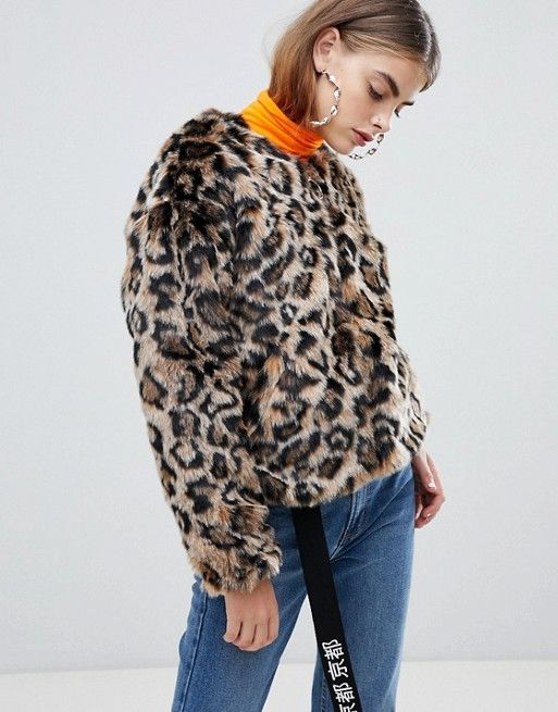 Bershka faux fur leopard jacket in multi in 2018  4047309c5