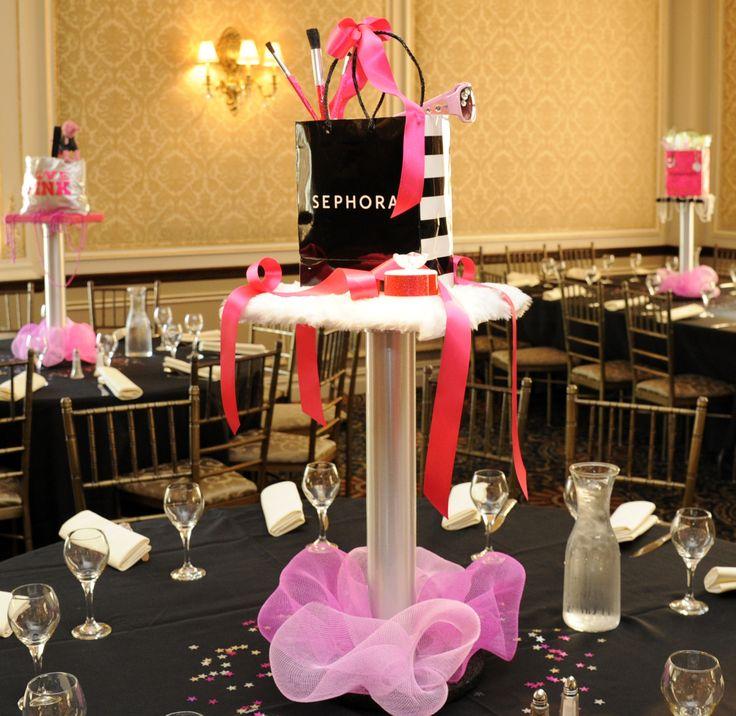 21st Birthday Table Arrangements: Sephora Themed Centerpiece