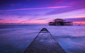 lilla, Regno Unito, blu, cielo, mare, tramonto, puntellare, Brighton, sera, Inghilterra, nuvole, PEARCE, Stretto
