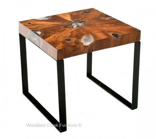 Natural Wood Furniture End Tables Or Nightstands Live Edge Design    Woodland Creek Furniture
