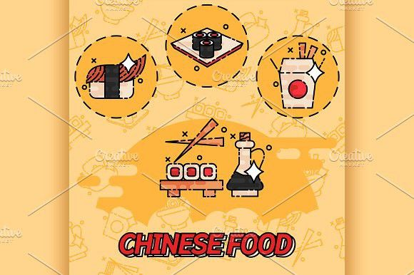 Chinese food flat concept icons. Travel Infographics