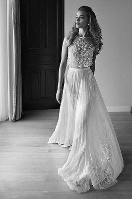 Fashion Weiß Elfenbein Spitze Chiffon Brautkleid Hochzeitskleid Kleider Gr:32-44