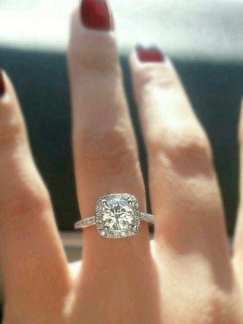 Cushion cut Diamond halo moissanite engagement ring. by MichaelPatrickHogan_cr / http://www.deerpearlflowers.com/halo-engagement-rings-wedding-rings/