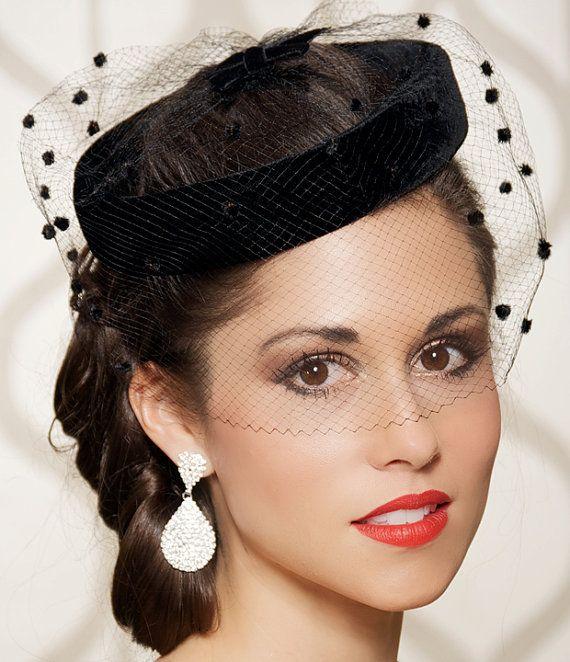Birdcage veil, Black, Wedding Hat, Bridal Head Piece, Cocktail Hat, Rockabilly, Vintage 1940, Pin up- One of a Kind - FRIEDA