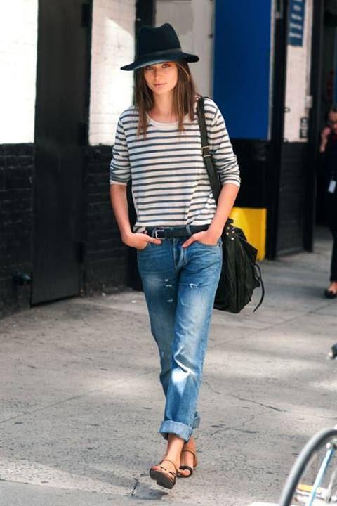 wide brim fedora + boyfriend jeans