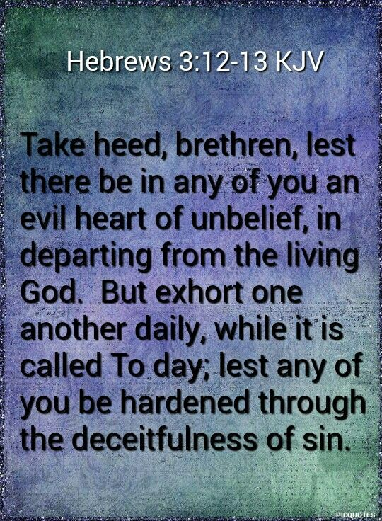 Hebrews 3:12-13 KJV  Take heed, brethren, lest there be in any of you an evil heart of unbelief, in departing from the living God.  But exhort one another daily, while it is called To day; lest any of you be hardened through the deceitfulness of sin.