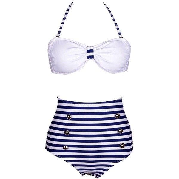 Retro High Waist Pin up Bikini Sets Stripped Bottom Swimsuit Swimwear ($16) ❤ liked on Polyvore featuring swimwear, bikinis, swimsuits, bikini, swim, bathing suits, swimsuits bikinis, retro bikini, retro bathing suits and high waist bikini swimsuit