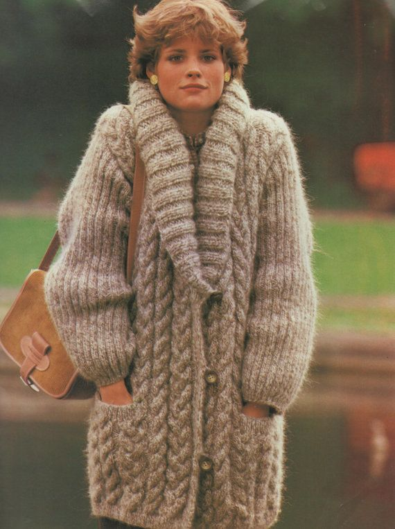 Instant Download PDF Vintage Knitting Pattern Ladies Superb Over-size Baggy 3/4 Cable Aran Jacket  Coat with Large Shawl Collar Bust 32-36""