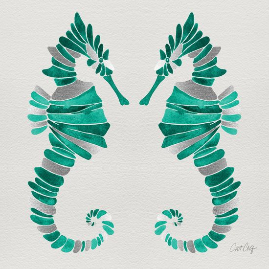 Seahorse – Silver & Turquoise Art Print